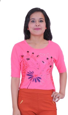 Krazzy Collection Casual 3/4 Sleeve Solid Women,s Pink Top