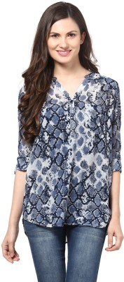 Color Cocktail Casual Full Sleeve Printed Women's Blue Top