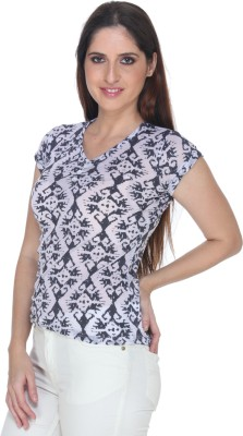 Fast n Fashion Casual Short Sleeve Printed Women's Grey Top at flipkart