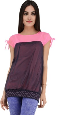 Terquois Casual Cap sleeve Solid Women's Pink Top
