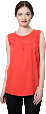 Van Heusen Casual Sleeveless Solid Women's Orange Top