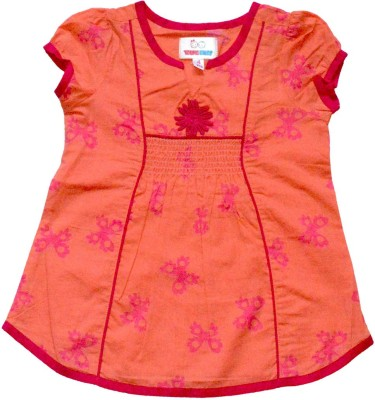 Young Birds Casual Short Sleeve Floral Print Girl's Orange Top