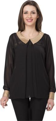 Ishindesignerstudio Party Full Sleeve Solid Women's Black Top