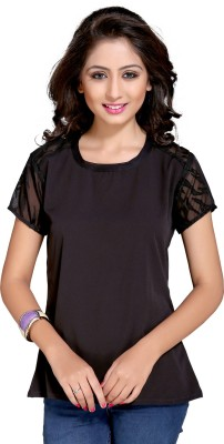 Vastrani Casual Short Sleeve Printed Women's Brown Top