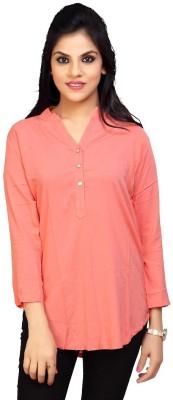 Carrel Casual 3/4 Sleeve Solid Women's Orange Top