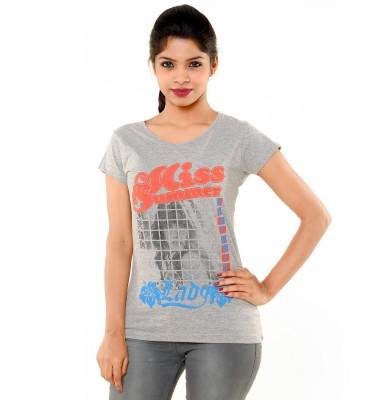 PEP18 Casual Short Sleeve Graphic Print Women's Grey Top