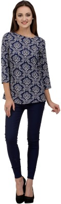 Rumara Casual 3/4 Sleeve Printed Women's Blue Top