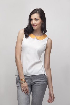 Primo Knot Casual Sleeveless Solid Women's Beige, Orange Top