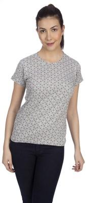 karney Casual Short Sleeve Polka Print Women's Grey Top