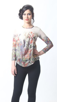 Silhouette Fashion Casual Full Sleeve Floral Print Girl,s Multicolor Top