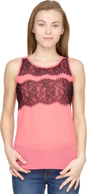 Latin Quarters Casual Sleeveless Solid Women,s Pink Top