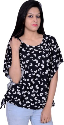 Womaniya by Being Dessi Party Butterfly Sleeve Floral Print Girl's Black Top