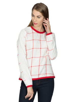 Miss Chick Casual Full Sleeve Checkered Women's White Top