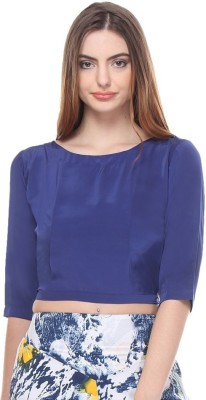 Closet Drama Casual 3/4 Sleeve Solid Women's Dark Blue Top