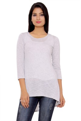 Tinge of Colors Casual 3/4 Sleeve Solid Women's Grey Top