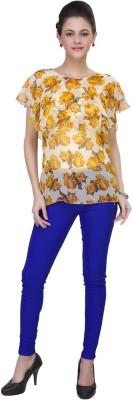 IshinDesignerStudio Casual Cape Sleeve Solid Women's Yellow Top