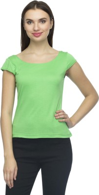 Bantry Casual Short Sleeve Solid Women's Green Top