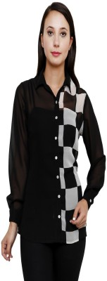 Rumara Casual Full Sleeve Checkered Women's Black Top