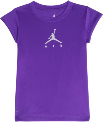 Jordan Kids Casual Short Sleeve Solid Girl's Purple Top