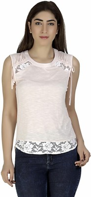 Gudi Casual Sleeveless Solid Women's Pink Top