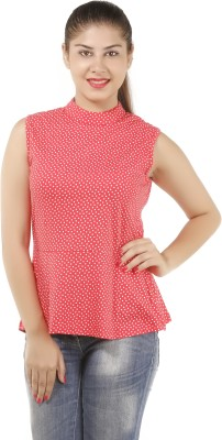 Lady Stark Casual Sleeveless Polka Print Women's Red Top