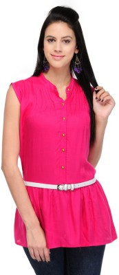 Visach Casual Sleeveless Solid Women's Pink Top