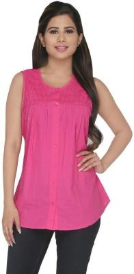 Fashion Wardrobe Women's Solid Casual Pink Shirt