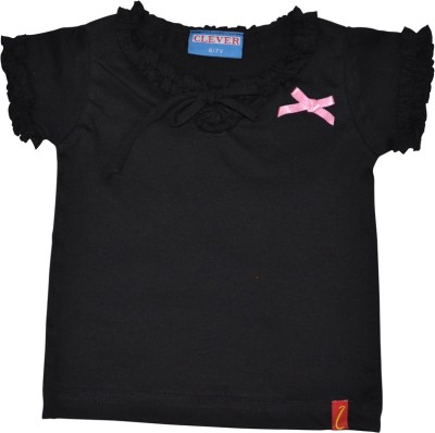 Clever Casual Short Sleeve Solid Baby Girl's Black Top