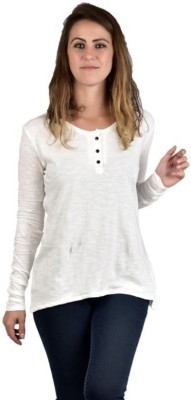 moda maze Casual Full Sleeve Solid Women's White Top