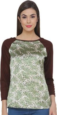 Ebry Casual 3/4 Sleeve Printed Women's Silver, Brown Top