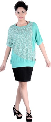 Divaz Fashion Casual, Party Short Sleeve Floral Print Women's Green Top