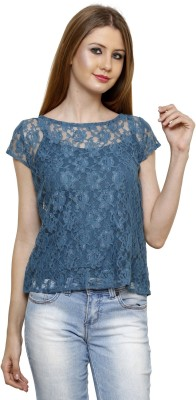 Rigo Casual Short Sleeve Floral Print Women's Blue Top