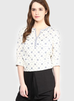 Only Casual Full Sleeve Floral Print Women's White Top