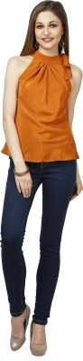 Glam & Luxe Casual Sleeveless Solid Women's Orange, Red Top