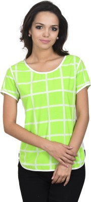 Antilia Femme Casual Short Sleeve Checkered Women's Green Top