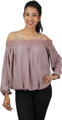 Old Khaki Casual Balloon Sleeve Solid Women's Brown Top