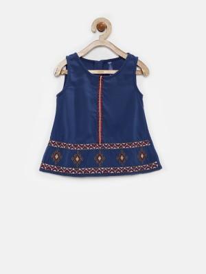 Yk Casual Sleeveless Solid Girl's Dark Blue Top