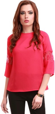 Sassafras Casual 3/4th Sleeve Solid Women's Pink Top at flipkart