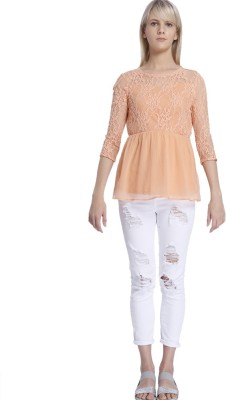 Vero Moda Casual 3/4 Sleeve Solid Women's Orange Top