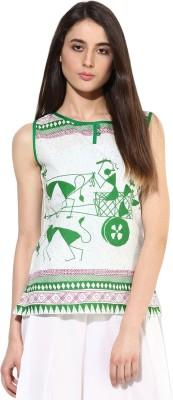 JaipurKurti Casual Sleeveless Animal Print Women's White Top