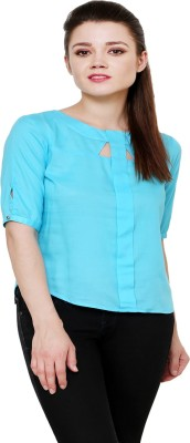 AT BY TARUNA Casual Short Sleeve Solid Women's Blue Top