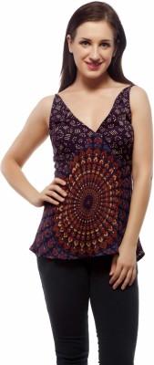 Indi Bargain Casual, Formal, Beach Wear, Sports, Festive Sleeveless Floral Print Women's Purple Top