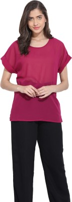 Ama Bella Casual Short Sleeve Solid Women's Red Top