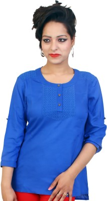 fashion and me Casual 3/4 Sleeve Solid Women's Blue Top