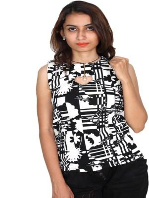 Vanya Enterprises Casual Sleeveless Printed Women's White, Black Top