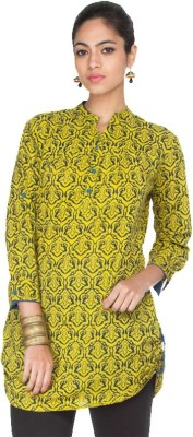 RC FASHION Casual 3/4 Sleeve Printed Women's Yellow Top