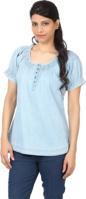 Eves Pret A Porter Casual Short Sleeve Solid Women's Light Blue Top