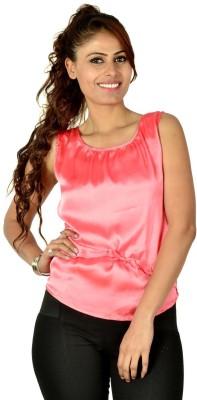 Designeez Casual Sleeveless Solid Women's Pink Top