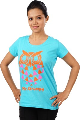 Indophile - Natural Fashion Casual Short Sleeve Printed Women's Light Blue Top