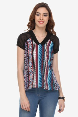 Varanga Party Short Sleeve Printed Women's Multicolor Top